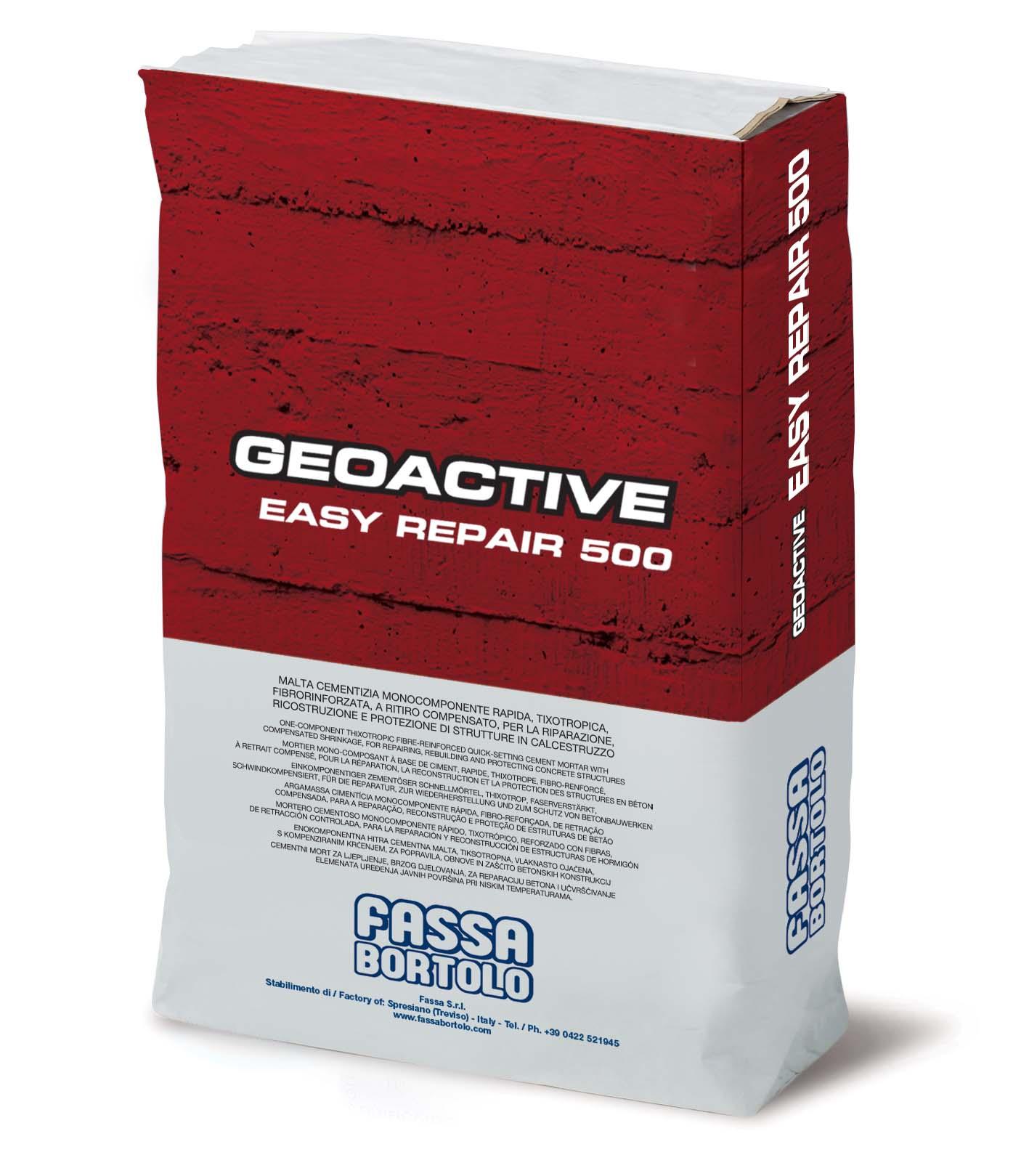 GEOACTIVE EASY REPAIR 500: Argamassa cimentícia monocomponente rápida, tixotrópica, fibro-reforçada, de baixíssima retração, para a reparação, reconstrução e proteção de estruturas em betão