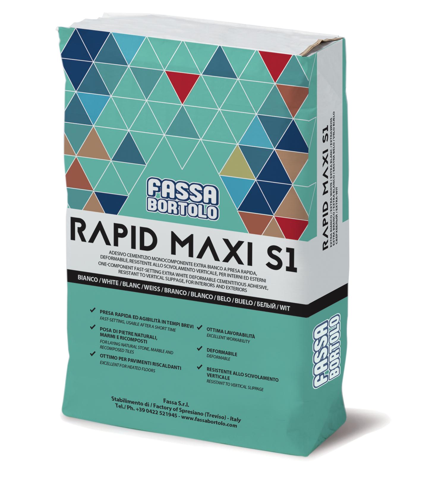 RAPID MAXI S1: Cimento cola monocomponente de presa rápida, boa elasticidade, extra-branca e cinzenta, para pavimentos e revestimentos tanto exteriores como interiores