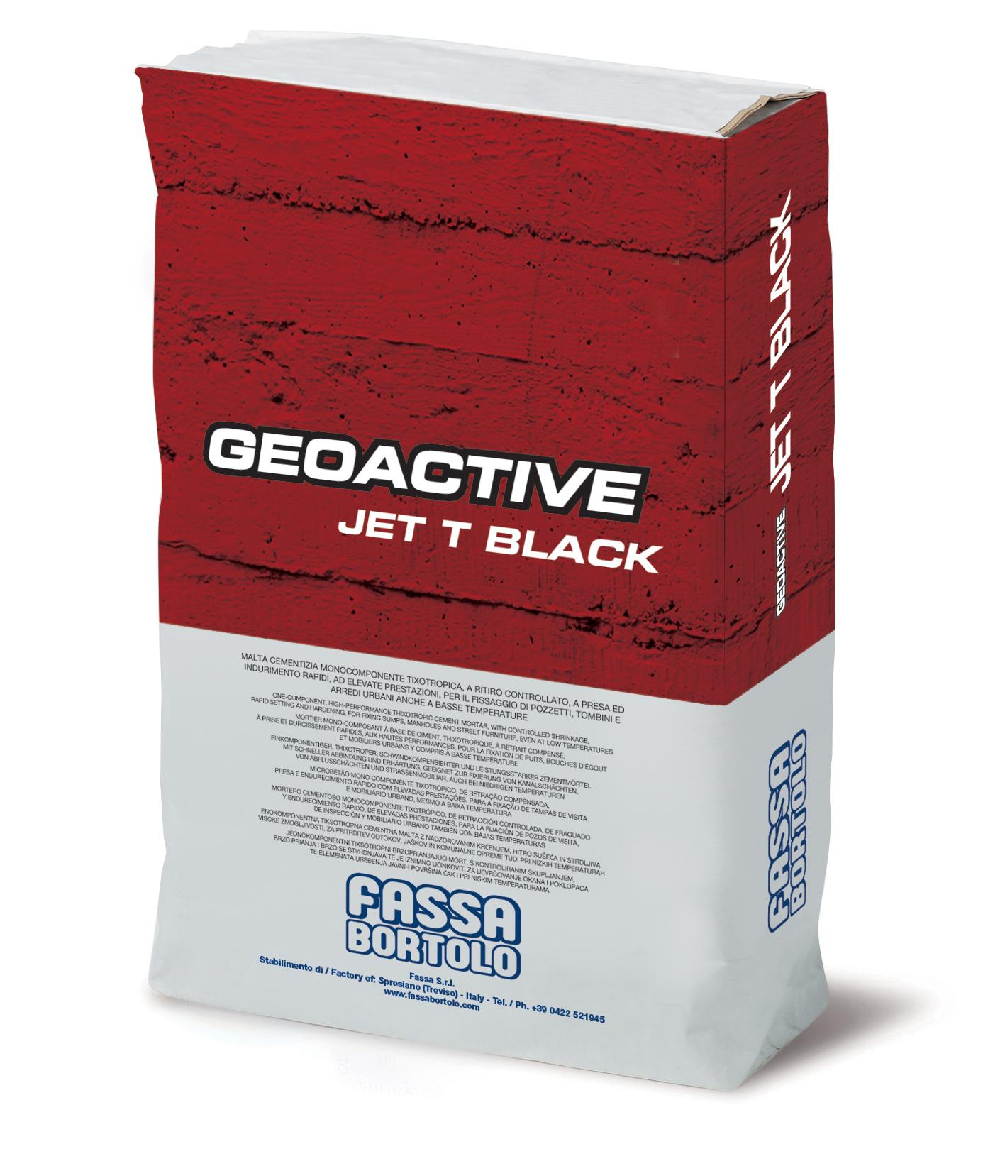 GEAOCTIVE JET T BLACK: Argamassa cimentícia monocomponente rápida, de cor preta, tixotrópica, fibro-reforçada, de elevado desempenho, para a fixação de tampas de visita e mobiliário urbano, mesmo a baixas temperaturas