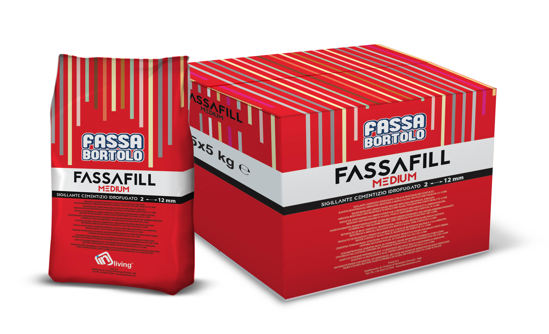 FASSAFILL MEDIUM: Betume cimentício hidrofugado, com altas resistências mecânicas e elevada resistência à abrasão, resistente a mofos e algas, para betumar juntas de 2 a 12 mm