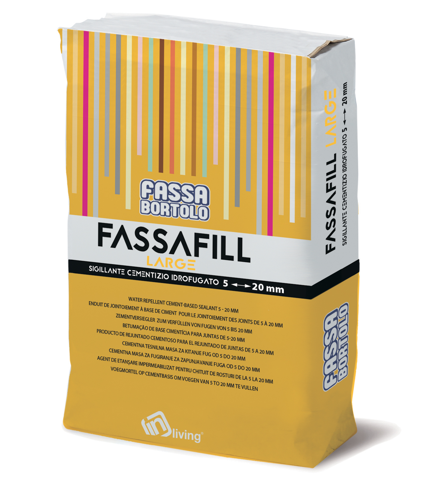 FASSAFILL LARGE: Betume cimentício hidrofugado, com altas resistências mecânicas e elevada resistência à abrasão, resistente a mofos e algas, para betumar juntas de 5 a 20 mm