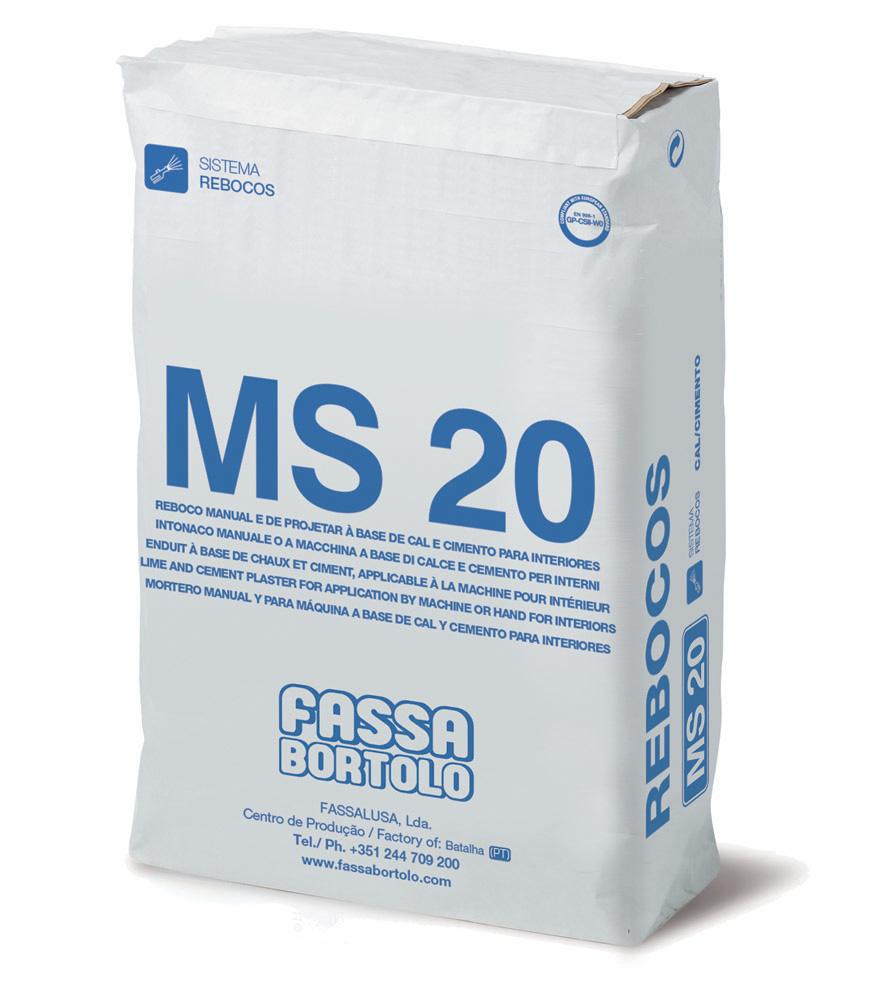 MS 20: Reboco para arear à base de cal e cimento, para interiores de aplicação manual ou à máquina