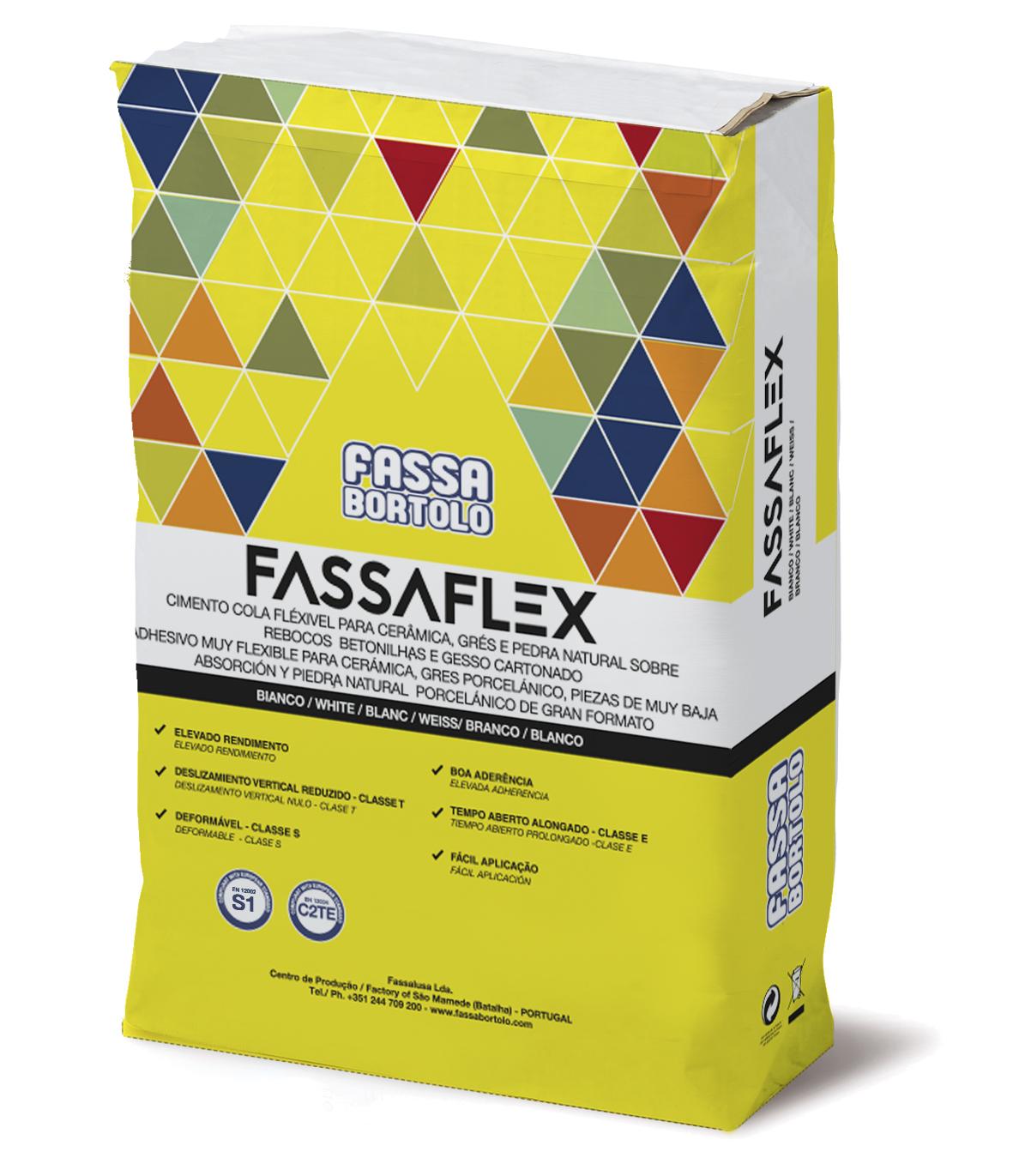 FASSAFLEX: FASSAFLEX é um cimento cola monocomponente branco e cinza, de altas prestações e deslizamento vertical nulo, com tempo aberto alongado, boa elasticidade e deformável para pavimentos e revestimentos seja interior como exterior.