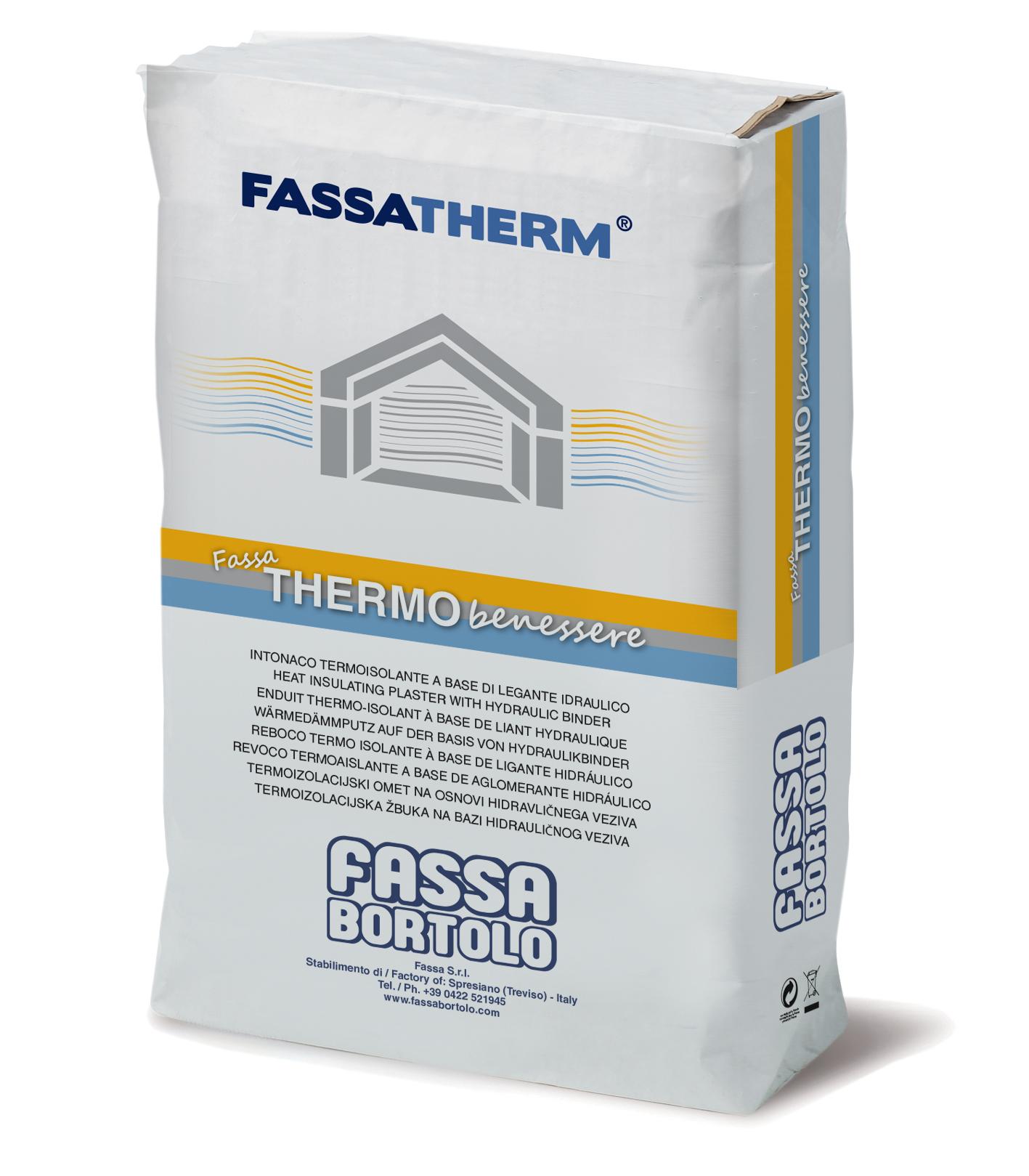 FASSA THERMOBENESSERE: Reboco termoisolante à base de ligante hidráulico aligeirado com esferas de poliestireno.