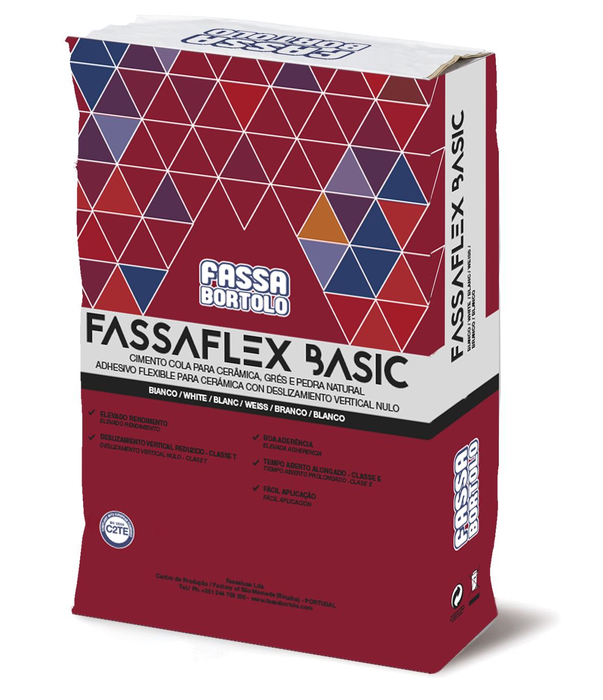FASSAFLEX BASIC: Adesivo monocomponente de base cimentícia, branco e cinza, de elasticidade média, anti-deslizante e com tempo aberto alongado, para pavimentos e revestimentos, sejam internos ou externos.