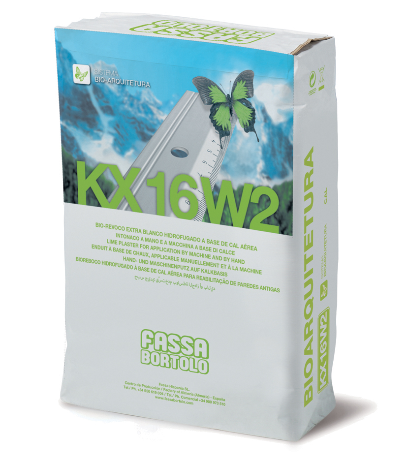 KX 16 W2: Bio-reboco hidrofugo para alvenaria, à base de cal e ligante hidráulico, para interior e exterior