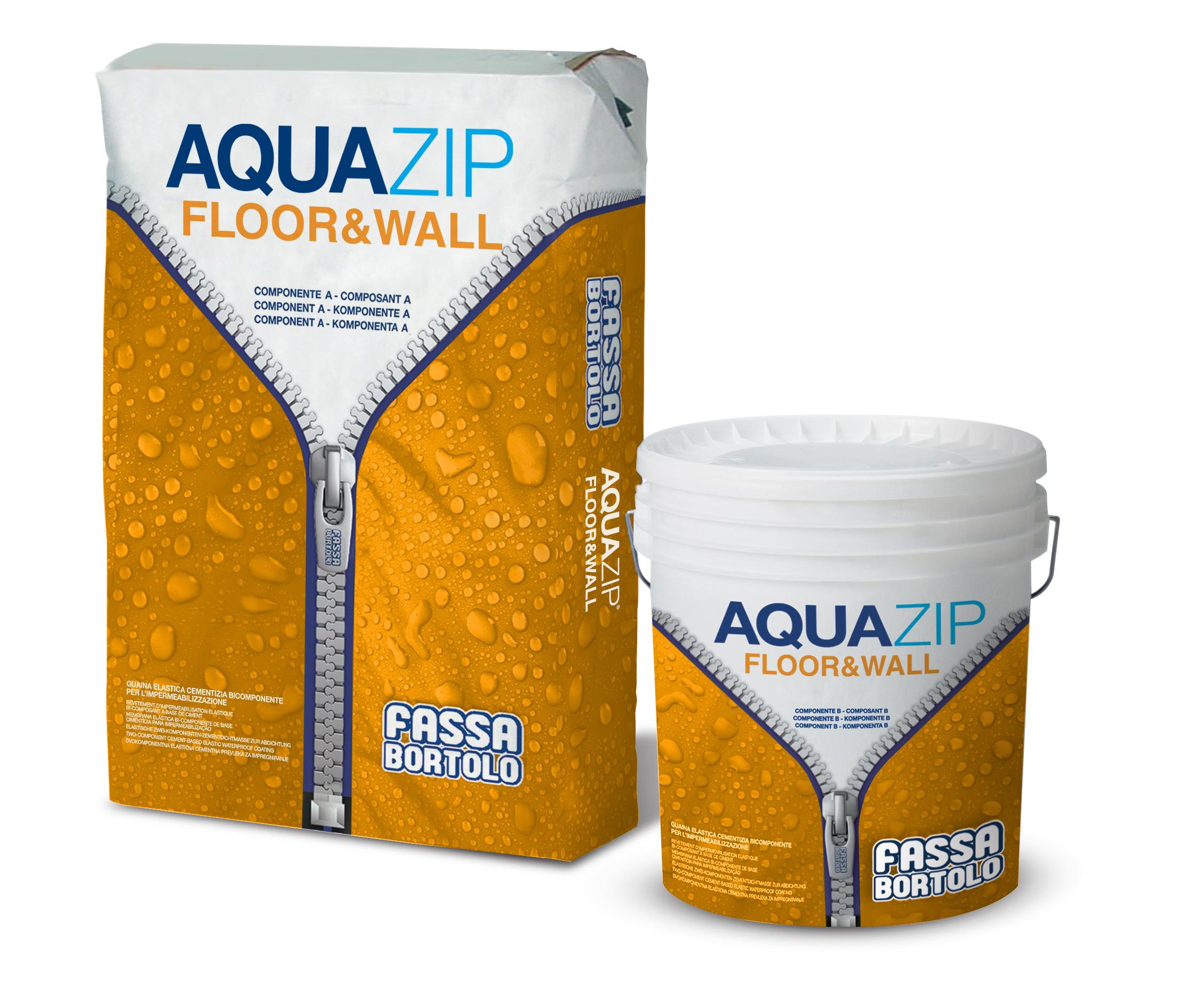 AQUAZIP FLOOR & WALL: Membrana elástica cimentícia bicomponente para a impermeabilização e proteção de superfícies em betão ou alvenarias submetidas a pressão hidrostática positiva e negativa
