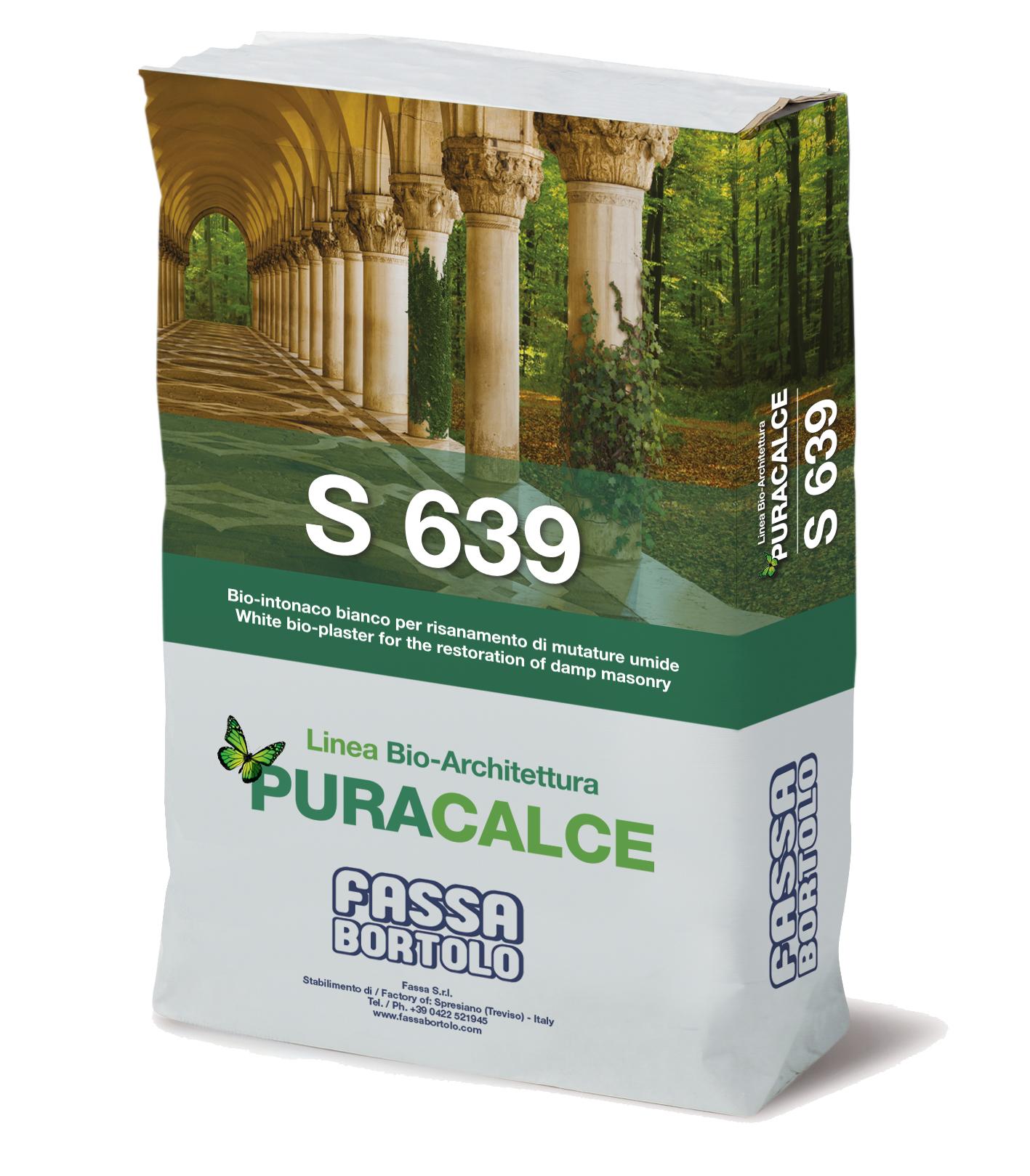 S 639: Bio-reboco macroporoso branco para o saneamento de paredes húmidas de efeito mármore, para interior e exterior