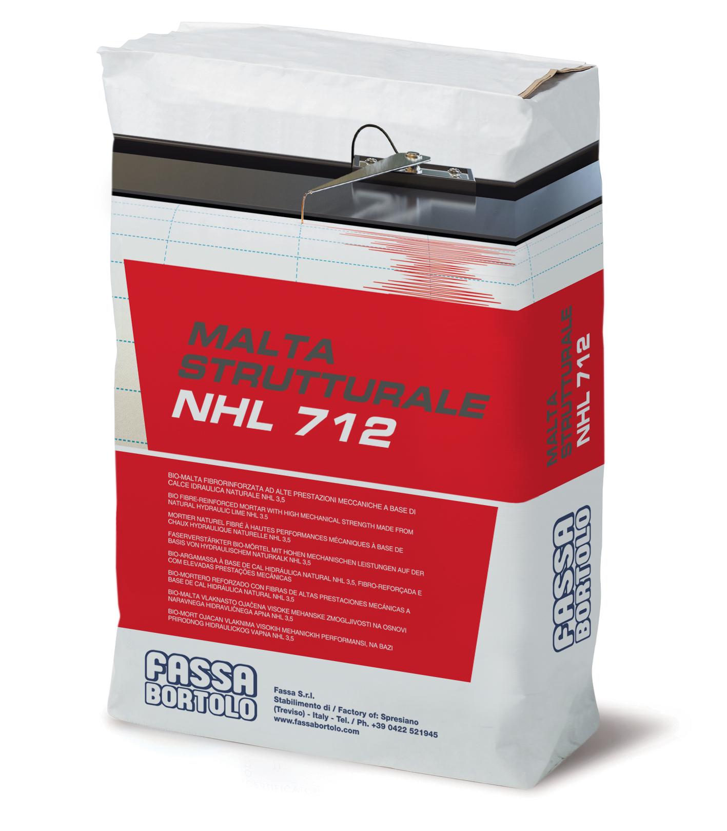 ARGAMASSA ESTRUTURAL NHL 712: Bio-argamassa fibro-reforçada e com elevadas prestações, à base de cal hidráulica natural NHL 3,5, para interior e exterior