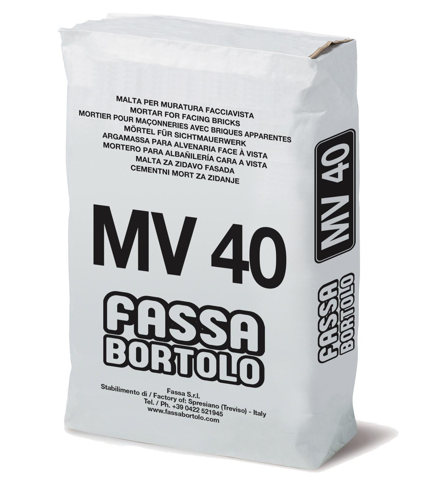 MV 40: Argamassa de alvenaria face à vista à base de cal e cimento para interior e exterior.