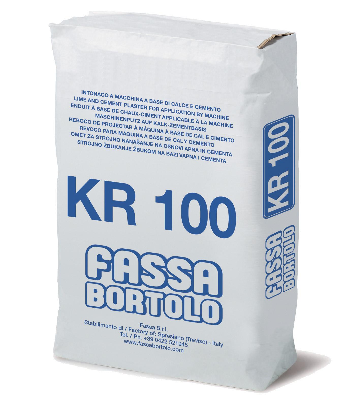 KR 100: Reboco à base de cimento e cal, com elevada resistência mecânica, para interior e exterior
