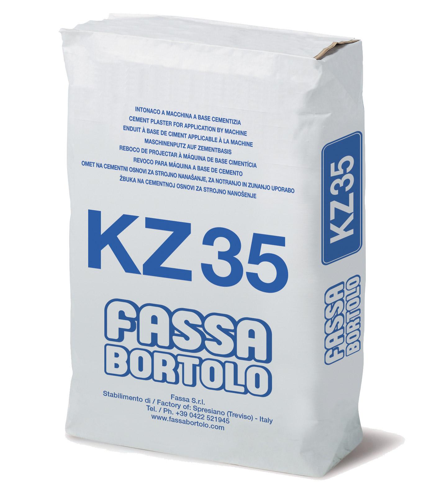 KZ 35: Reboco de base com hidrorrepelente à base de cimento e pozolana para rodapés em exteriores e interiores