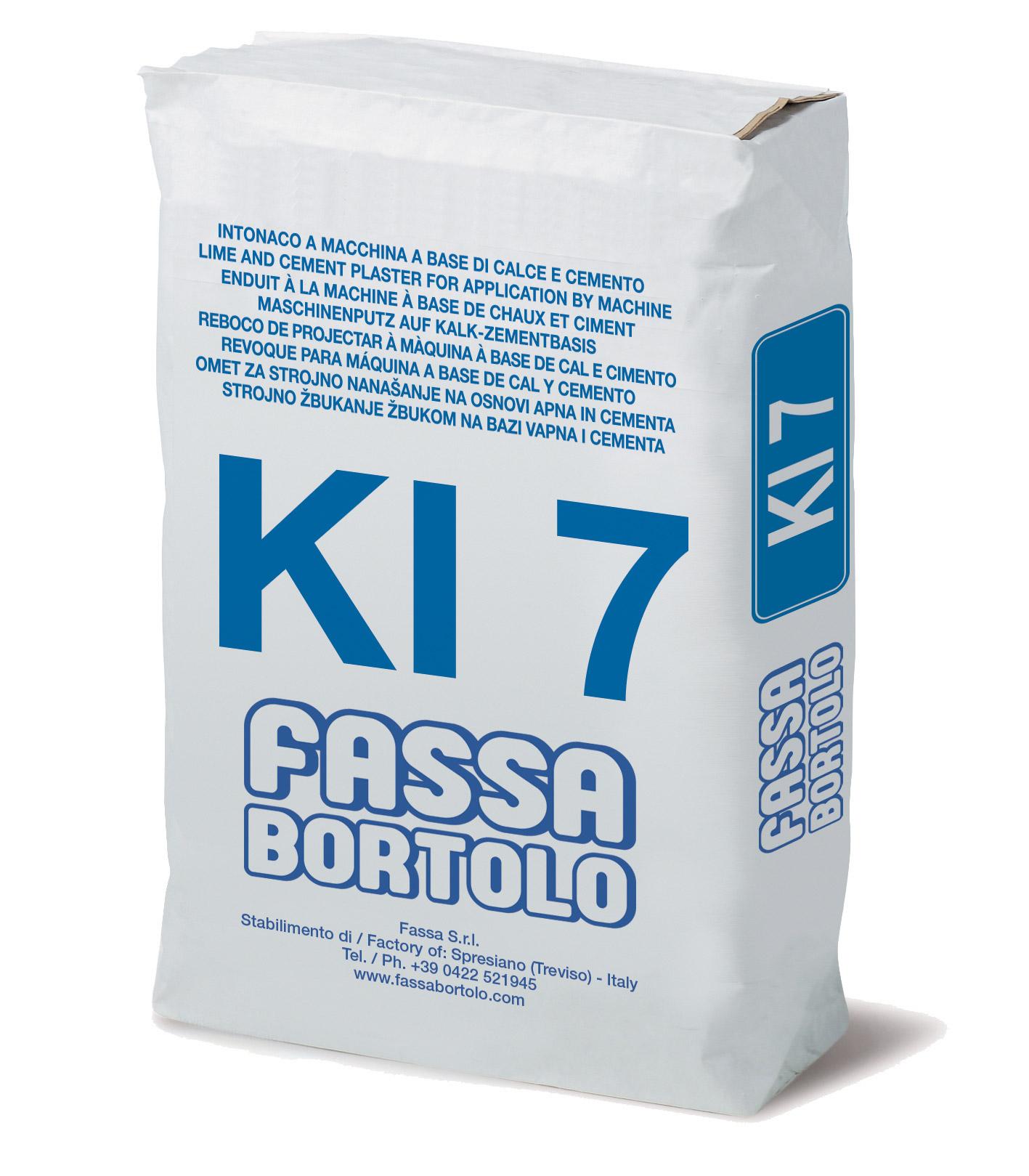 KI 7: Reboco fibro-reforçado, com hidrorepelente, à base de cal e cimento, para interior e exterior