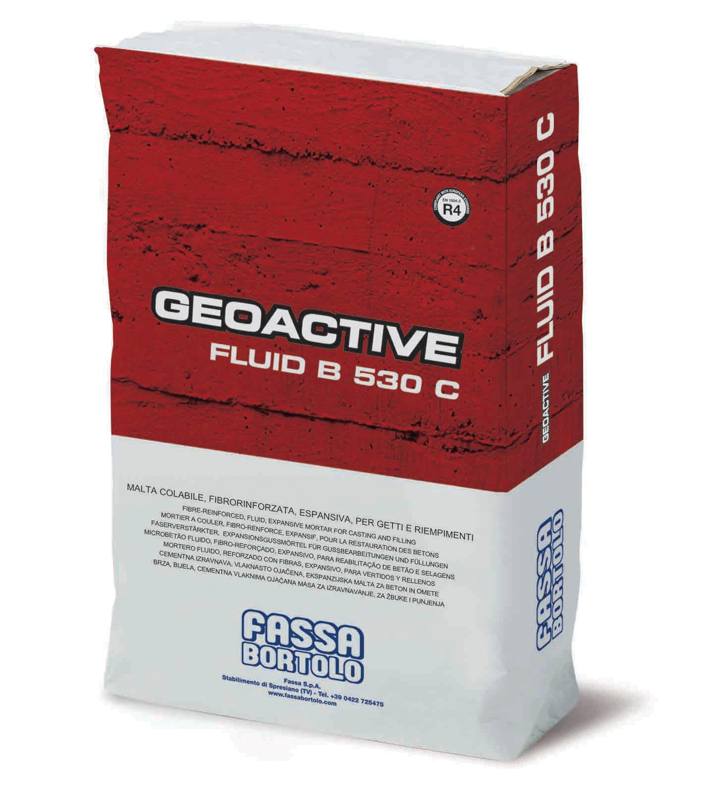GEOACTIVE FLUID B 530 C: Argamassa cimentícia com fluidez controlável, de fluída a super-fluída, expansiva e de elevadas prestações mecânicas, para a reabilitação e reforço de estruturas em betão armado e para a ancoragem de máquinas e estruturas metálicas