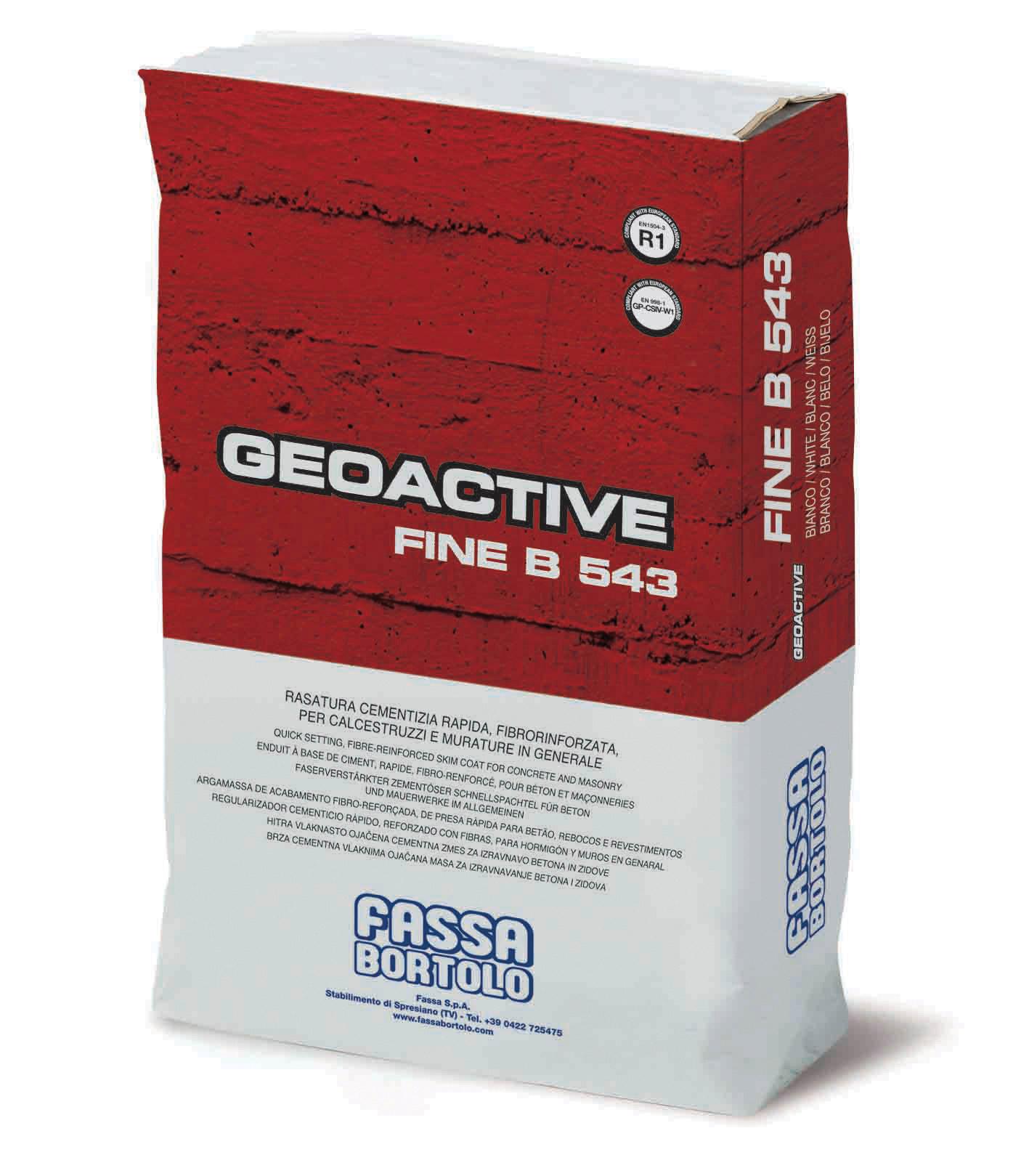 GEOACTIVE FINE B 543: Regularizador cimentício de presa rápida, fibro-reforçado, hidrófugado, branco e cinza para betão, alvenaria, revestimentos plásticos e rebocos