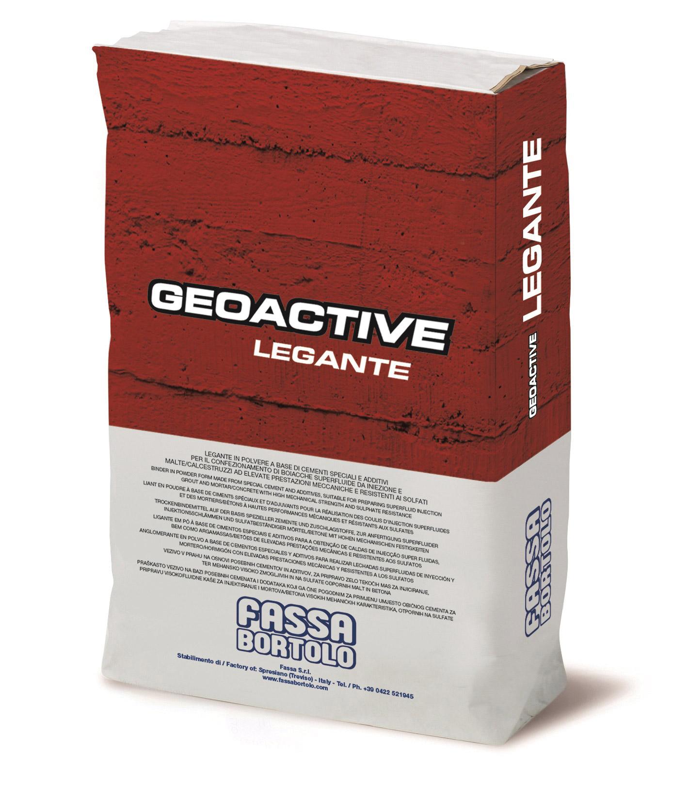 GEOACTIVE LEGANTE: Ligante cimentício expansivo super-fluído para a confeção de betões, microbetões, argamassas de retração compensada e para a utilização de caldas super-fluídas