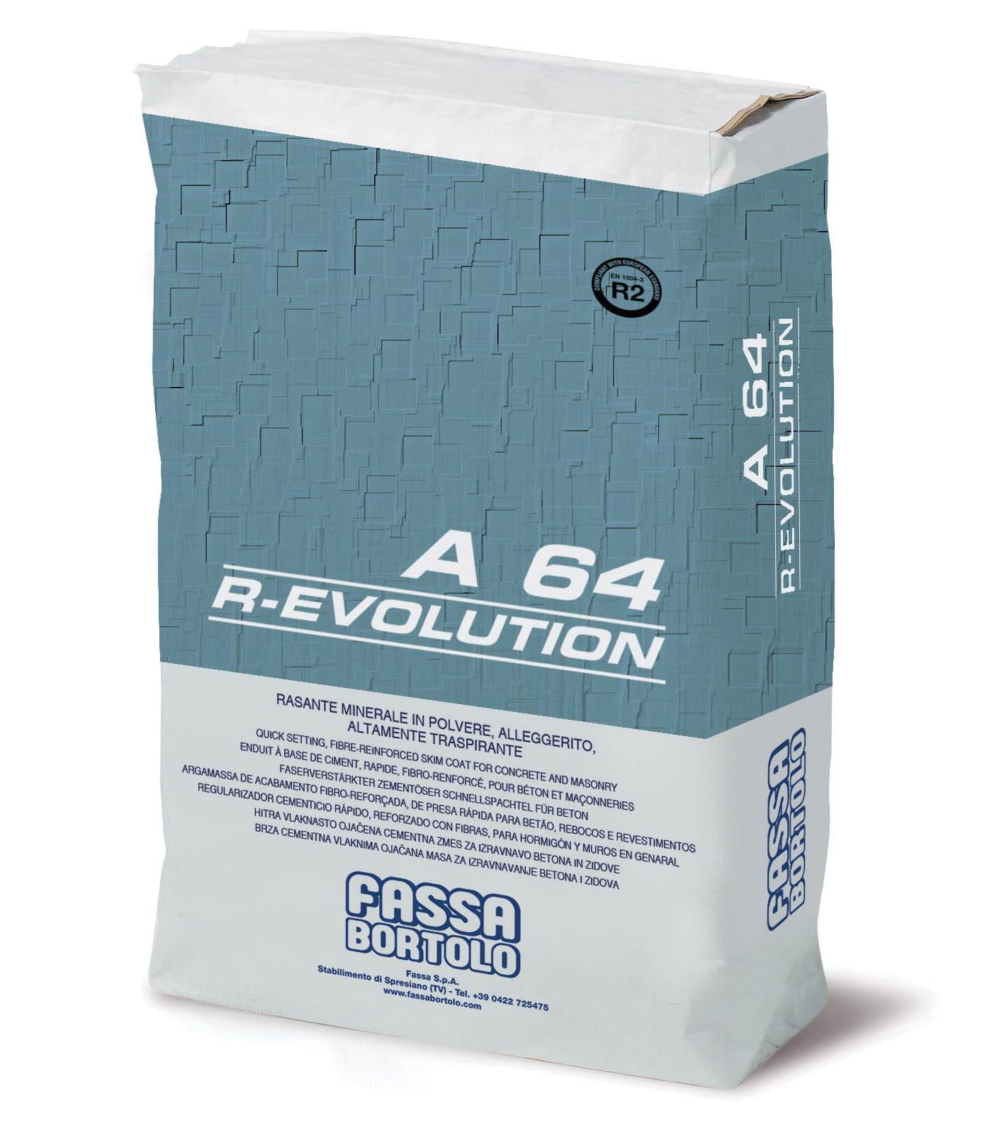A 64 R-EVOLUTION: Regularizador mineral fibro-reforçado e hidrofugado, para aplicar sobre superfícies de elevada resistência mecânica, à base de cal e ligante hidráulico, para interior e exterior