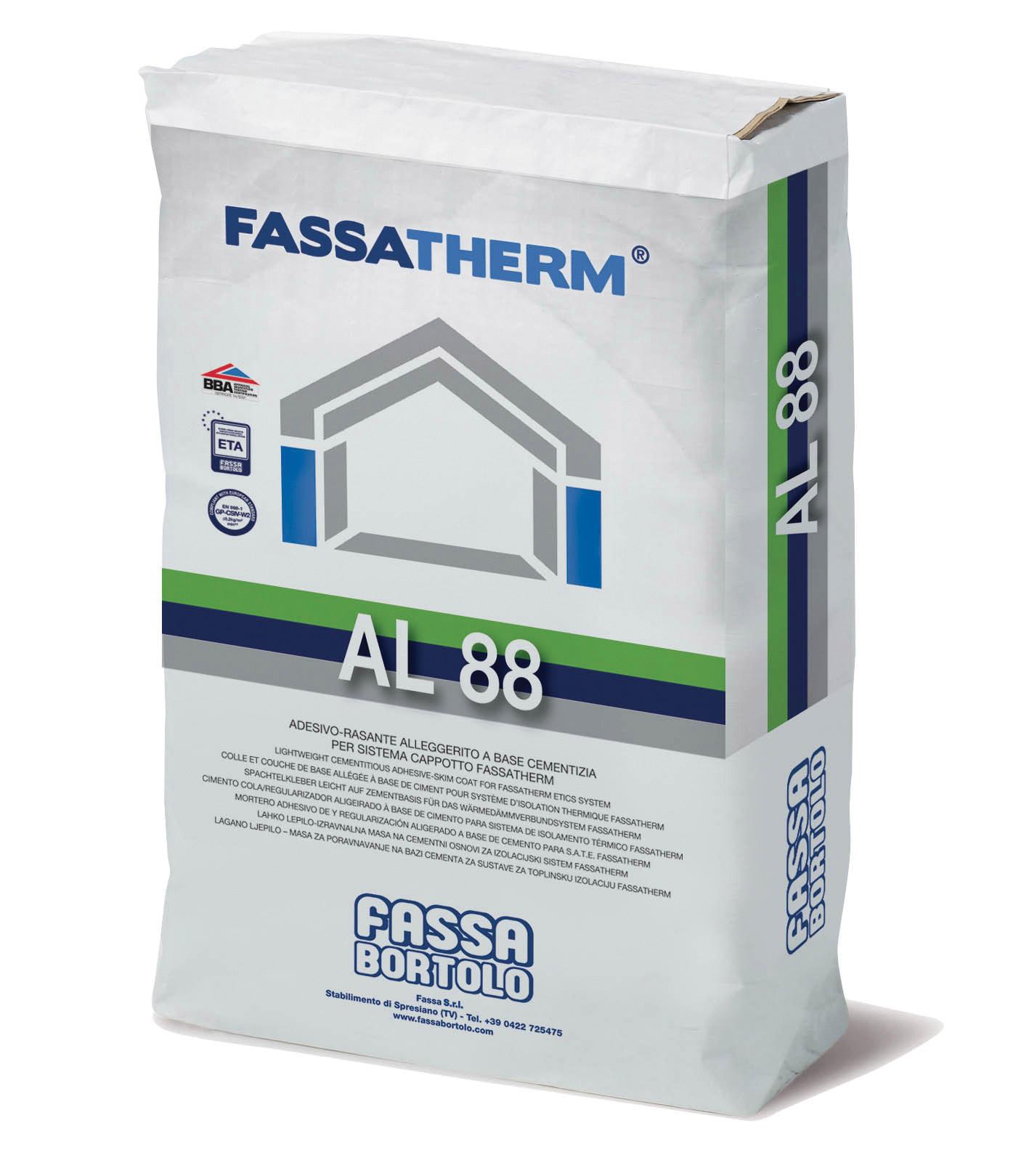 AL 88: Cola-Regularizador aligeirado de base cimentícia branca para Sistemas Fassatherm®