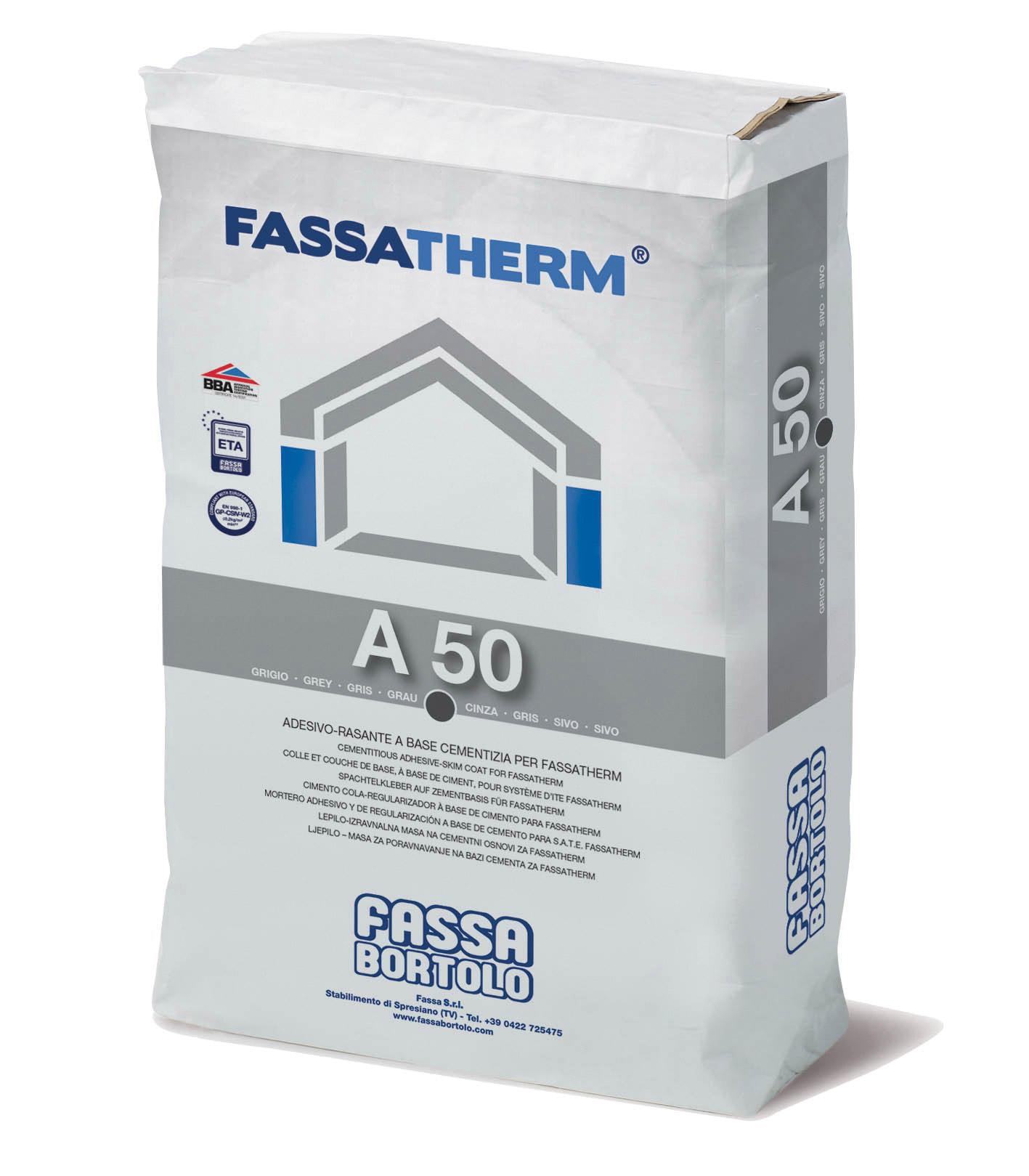 A 50: Cola-Regularizadora de base cimentícia cinzenta de elevado desempenho para Sistemas Fassatherm®