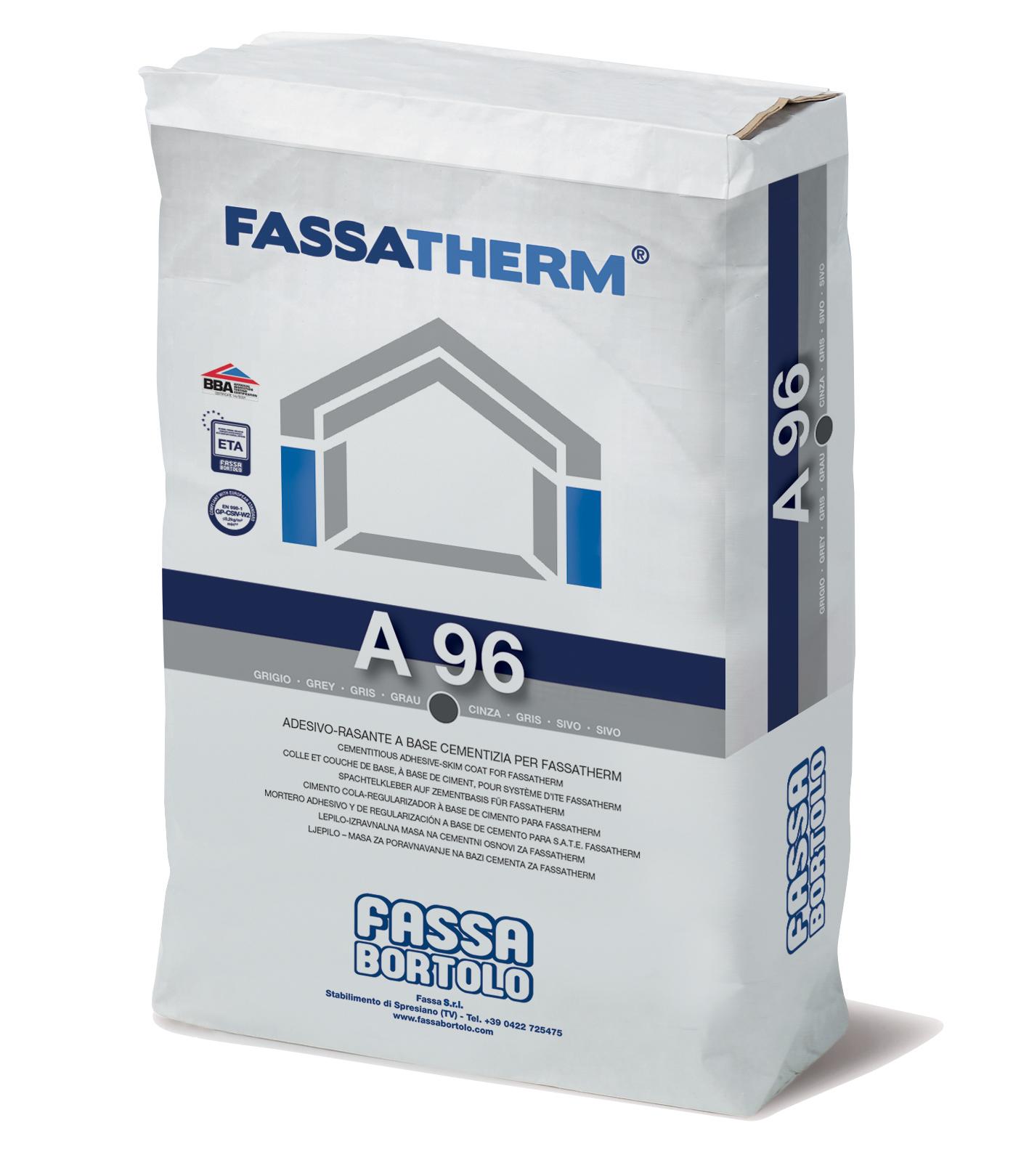 A 96: Cola-Regularizador fibrado de base cimentícia cinzenta e branca para Sistemas Fassatherm®