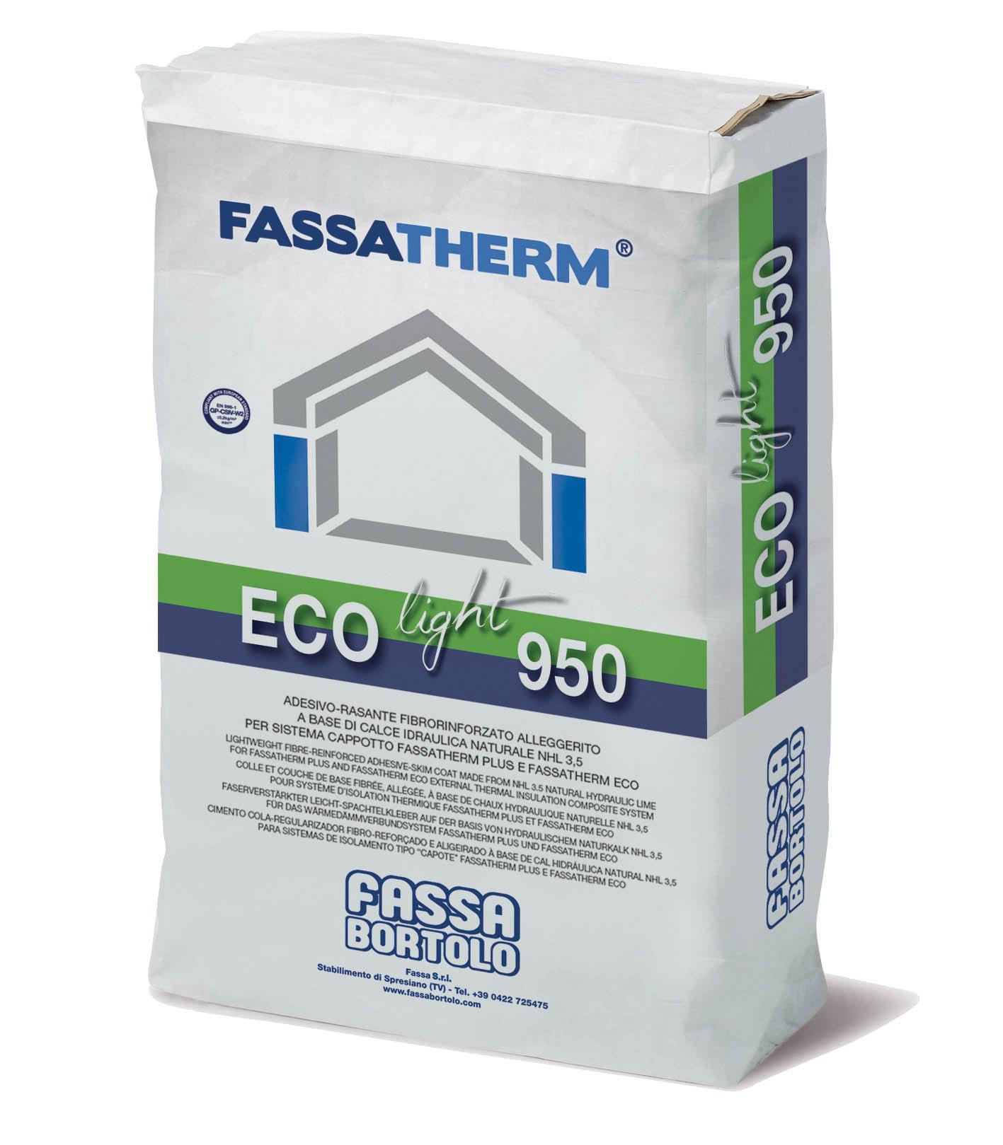 ECO-LIGHT 950: Cola-Regularizador aligeirado, fibrado, à base de cal hidráulica natural NHL 3,5 para Sistemas Fassatherm®