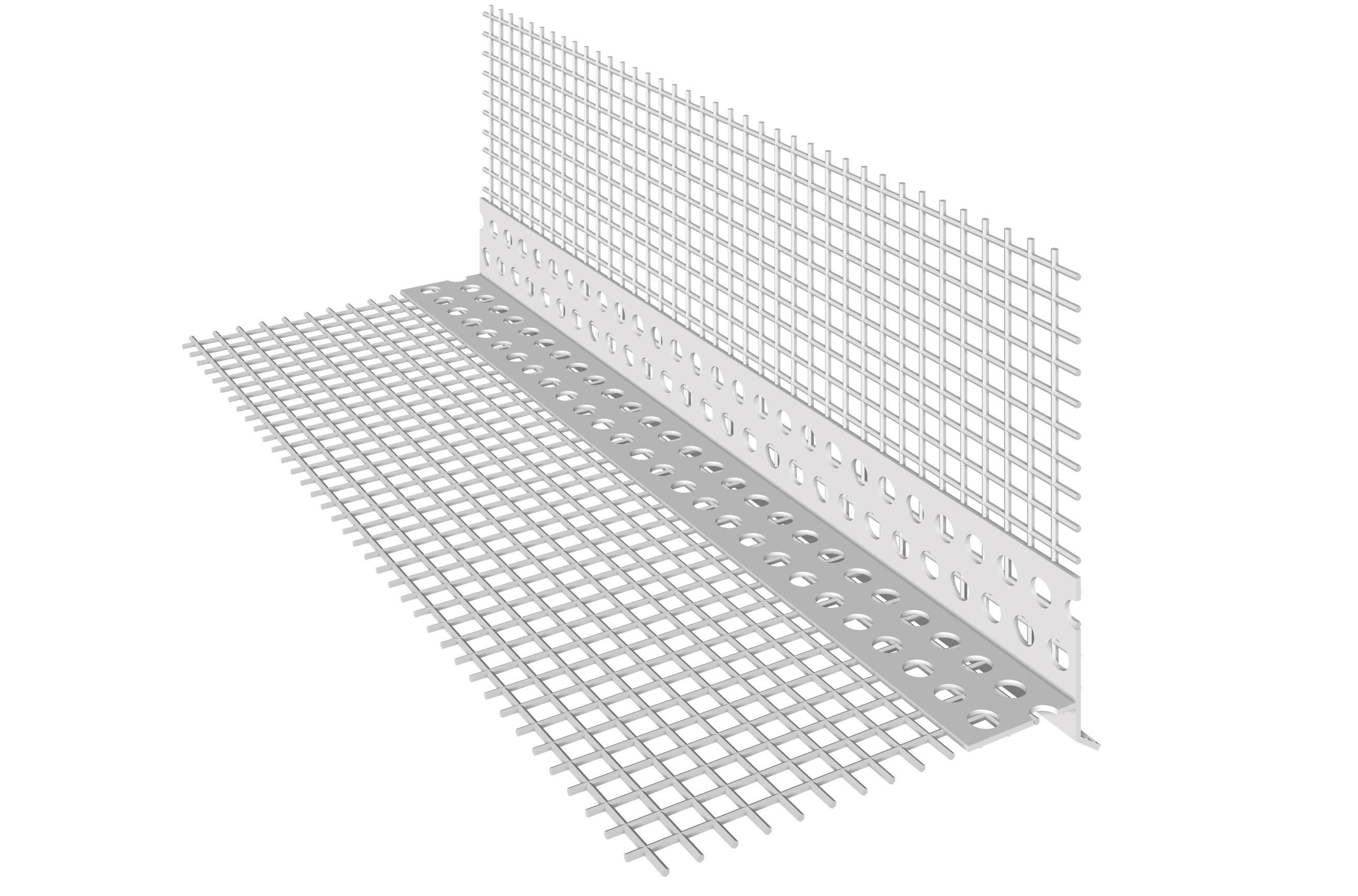 PERFIL EM PVC COM GOTEIRA DIAGONAL: Perfil em PVC com rede de fibra de vidro pré-colada e goteira diagonal