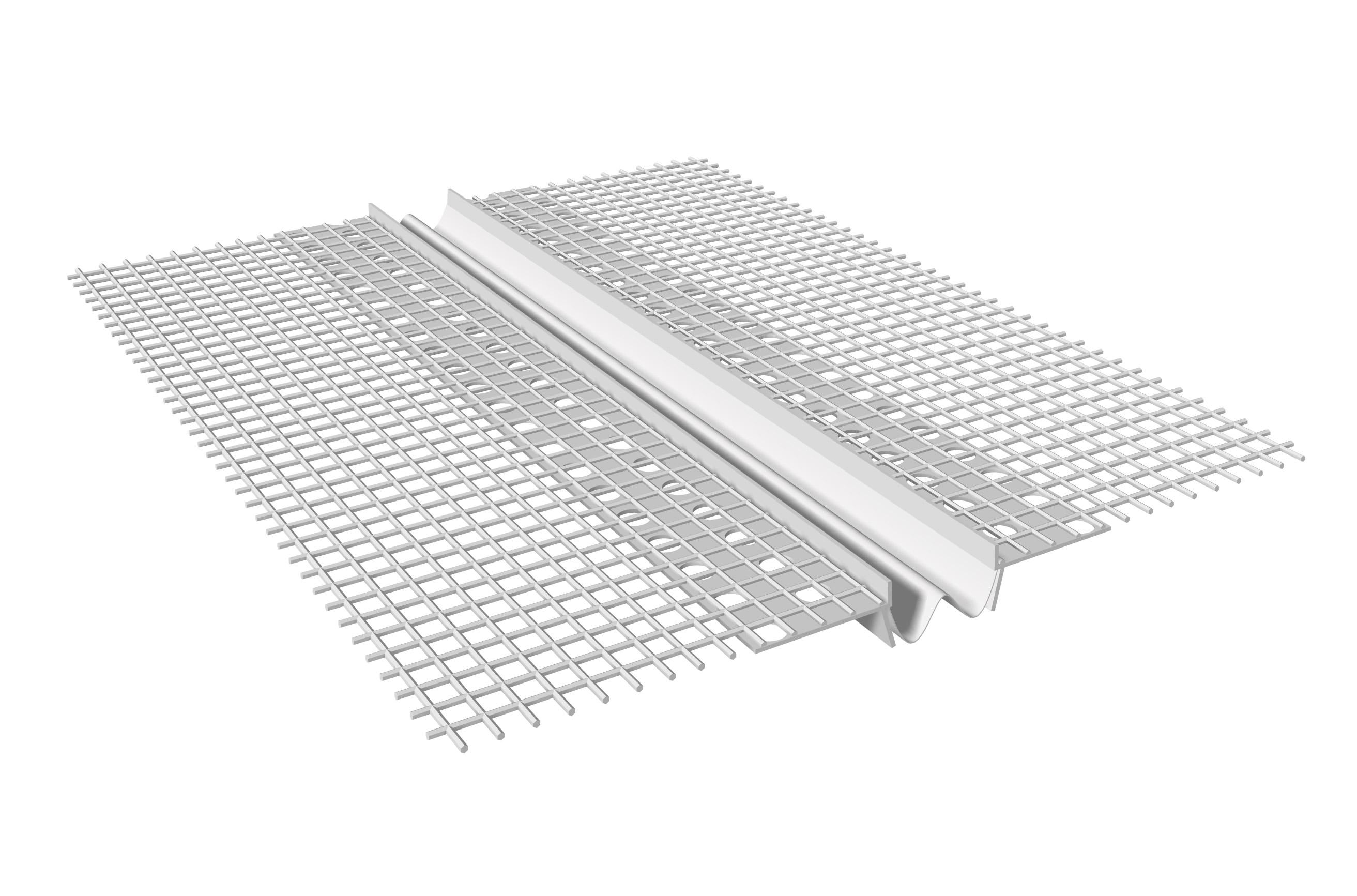JUNTA DE DILATAÇÃO VERTICAL EM PVC: Junta de dilatação em PVC com rede de fibra de vidro pré-colada