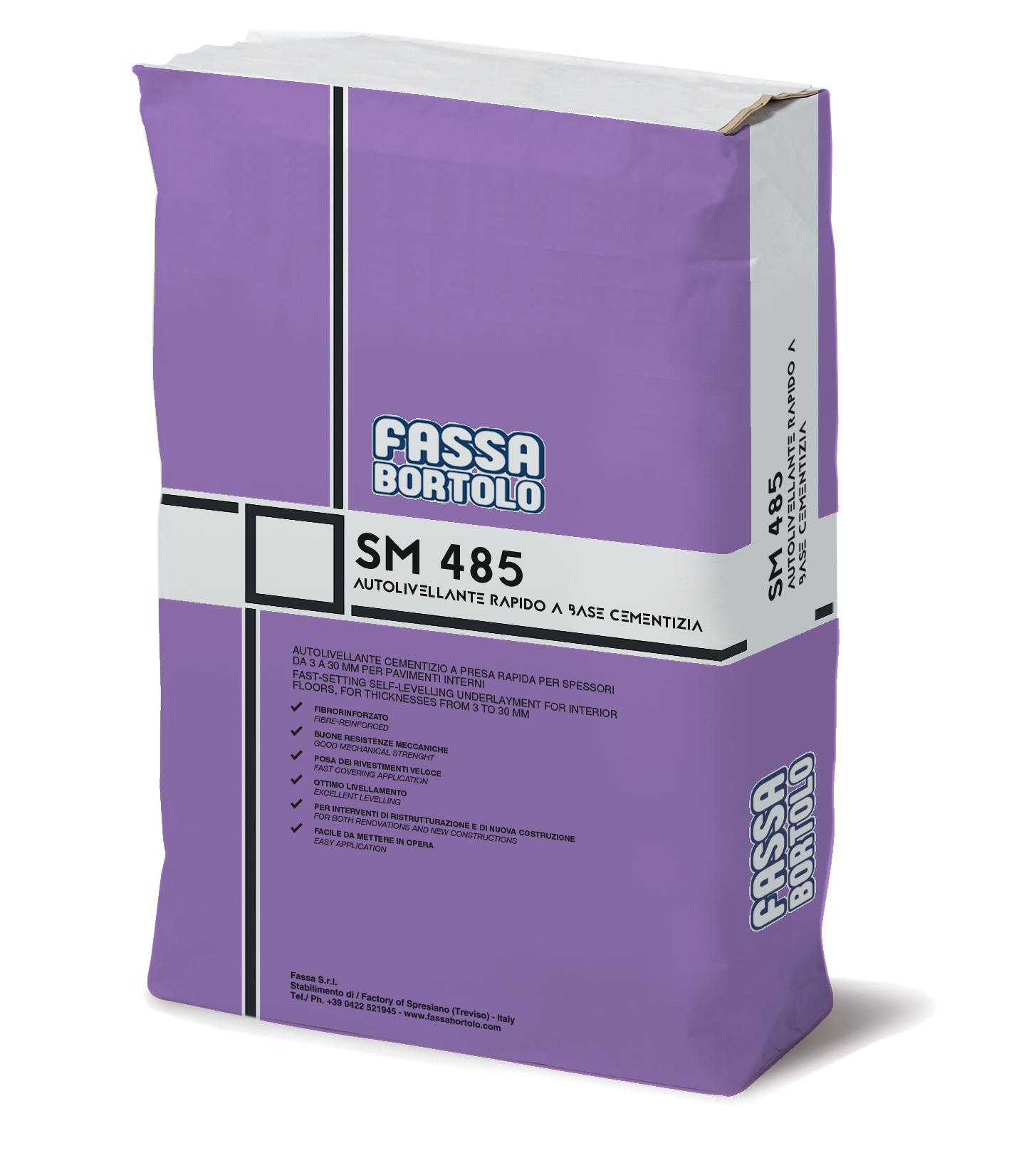 SM 485: Argamassa auto-nivelante de presa rápida, fibro-reforçado, para espessuras de 3 a 30 mm para pavimentos interiores