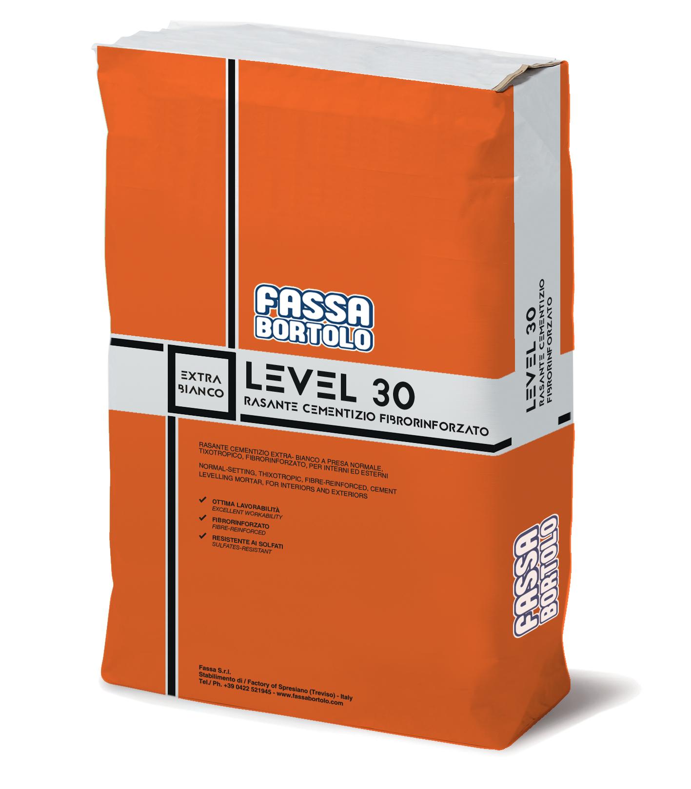 LEVEL 30: Regularizador cimentício extra-branco e cinza de presa normal, tixotrópico, fibro-reforçado, para interiores e exteriores
