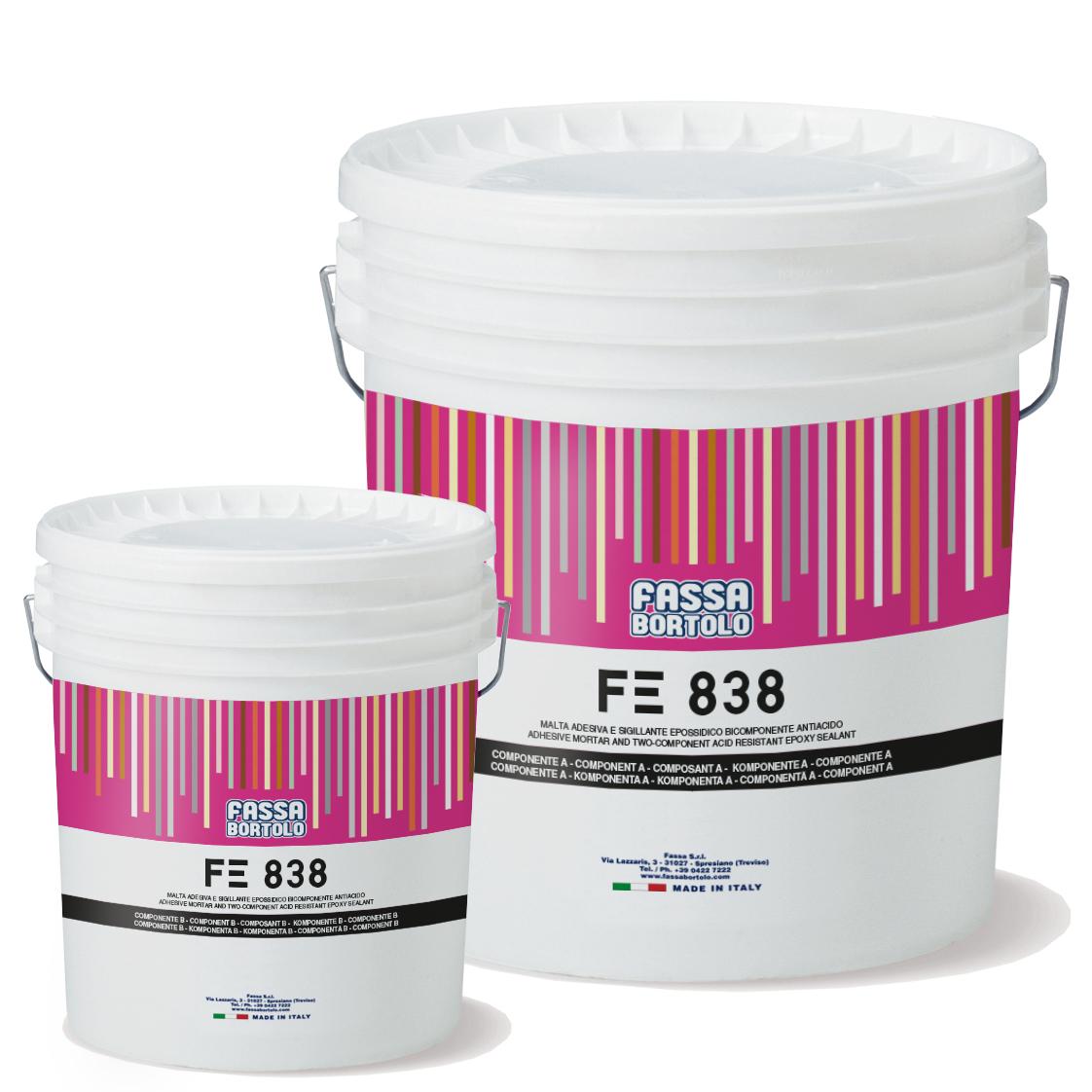 FE 838: Cola e betume epóxi, bi-componente, resistência aos ácidos para juntas superiores a 3 mm, para interior e exterior