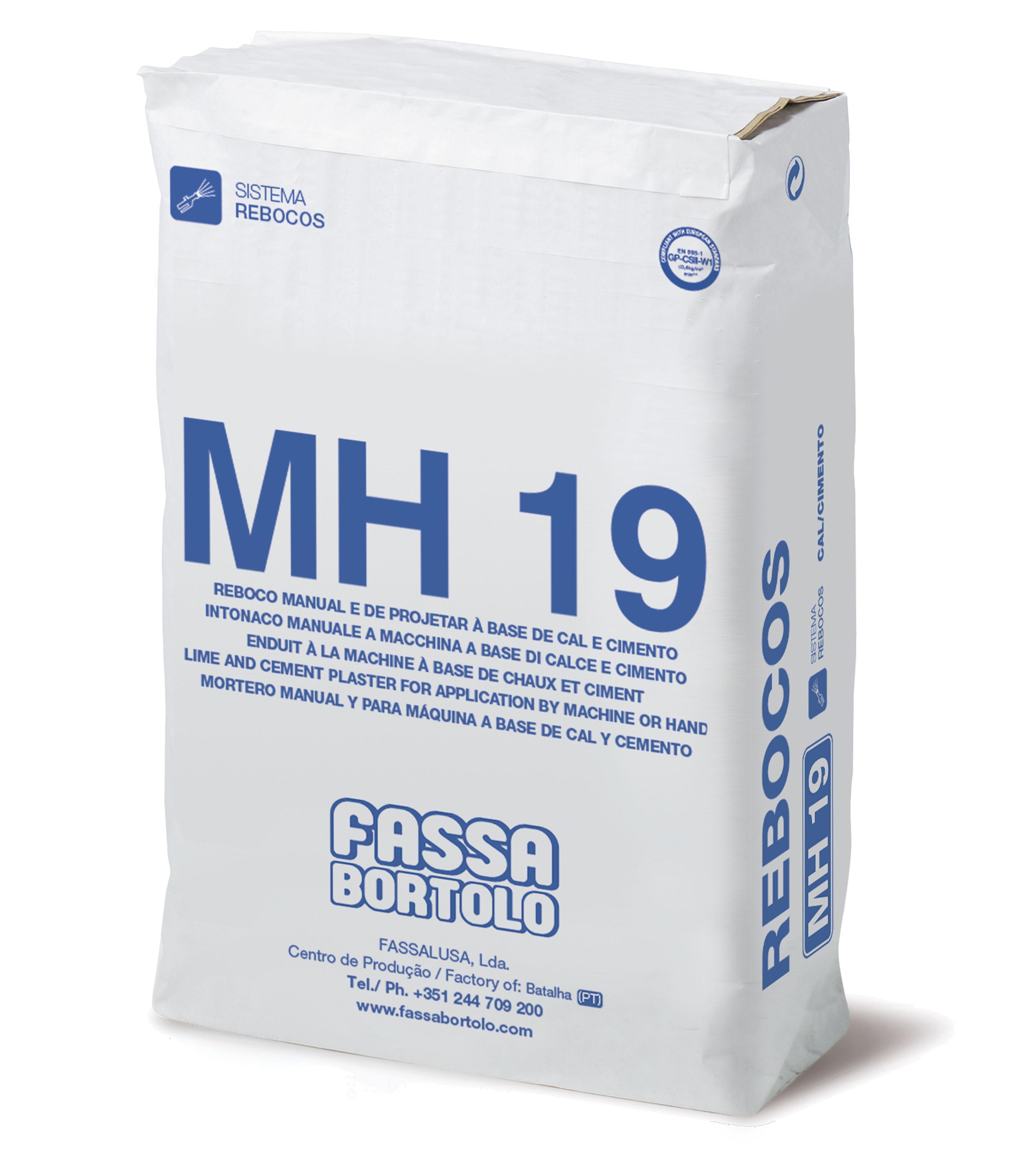 MH 19: Reboco hidrofugado para arear, à base de cal e cimento para exteriores e interiores à mão ou à máquina