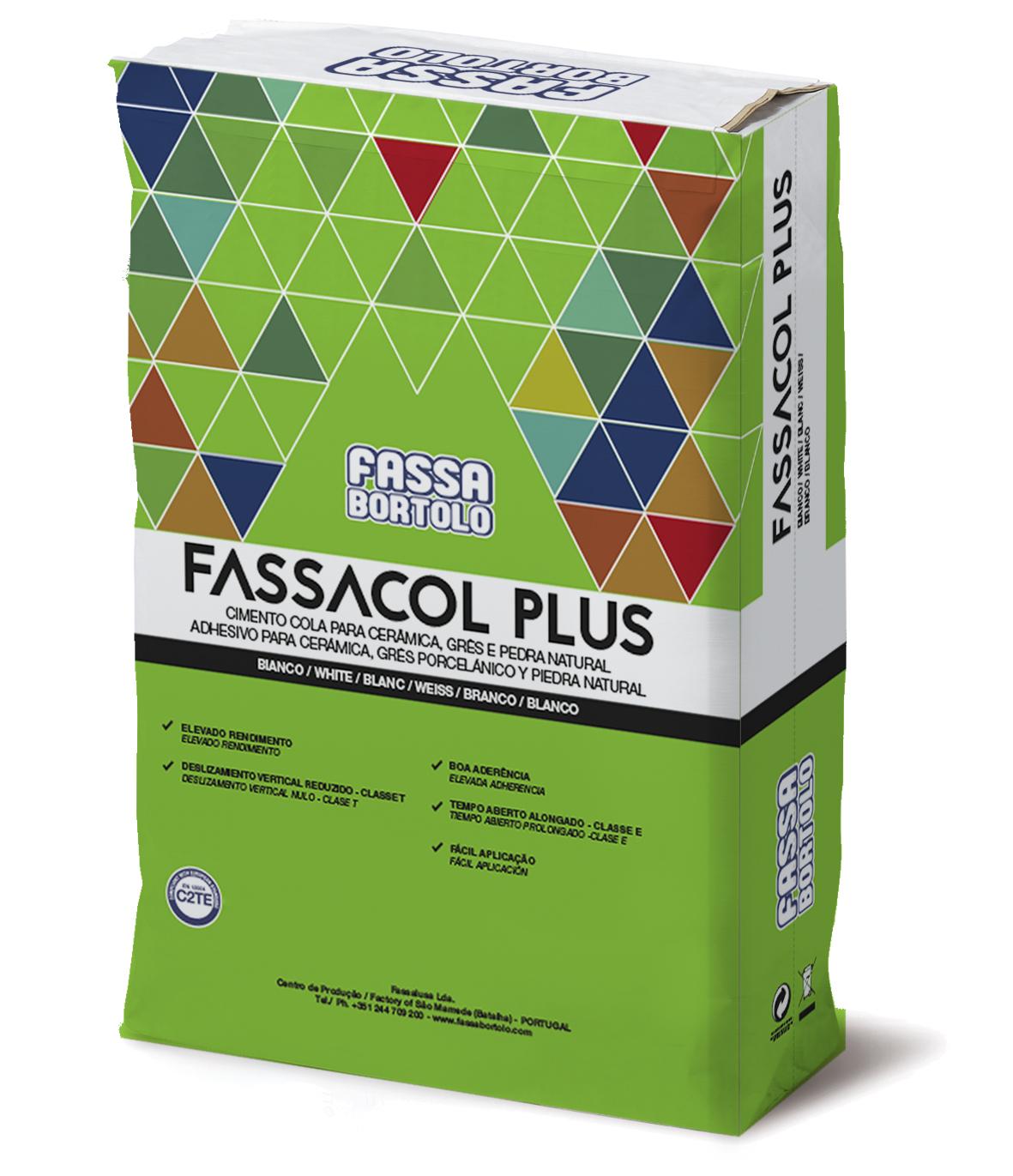 FASSACOL PLUS: Cimento-cola de base cimentícia, monocomponente, branco e cinza, para pavimentos e revestimentos quer no interior como no exterior