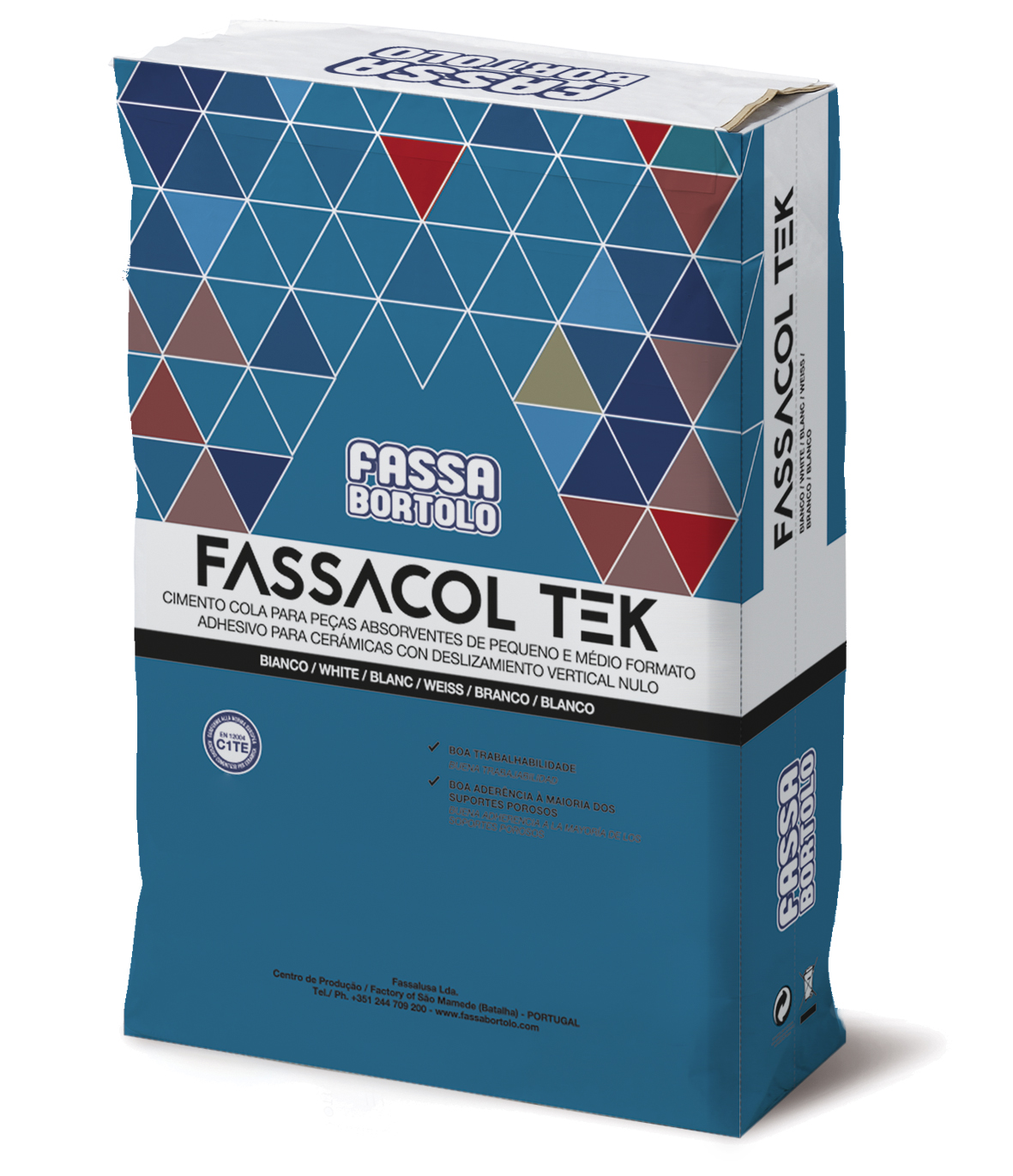 FASSACOL TEK: Cimento cola branco e cinza para colar cerâmica absorvente e grés porcelânico sobre rebocos ou betonilhas no interior ou exterior